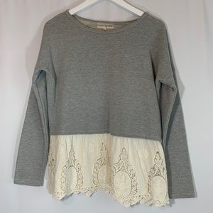 Altar'd State Crochet Trim Sweater in Grey/Cream